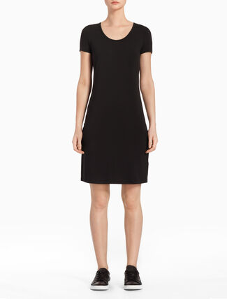 CALVIN KLEIN TWIST BACK SHORT SLEEVE DRESS