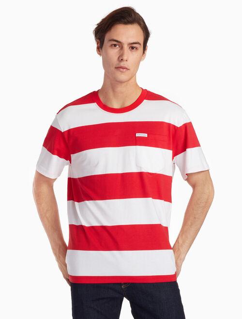 CALVIN KLEIN 스트라이프 크루 티셔츠