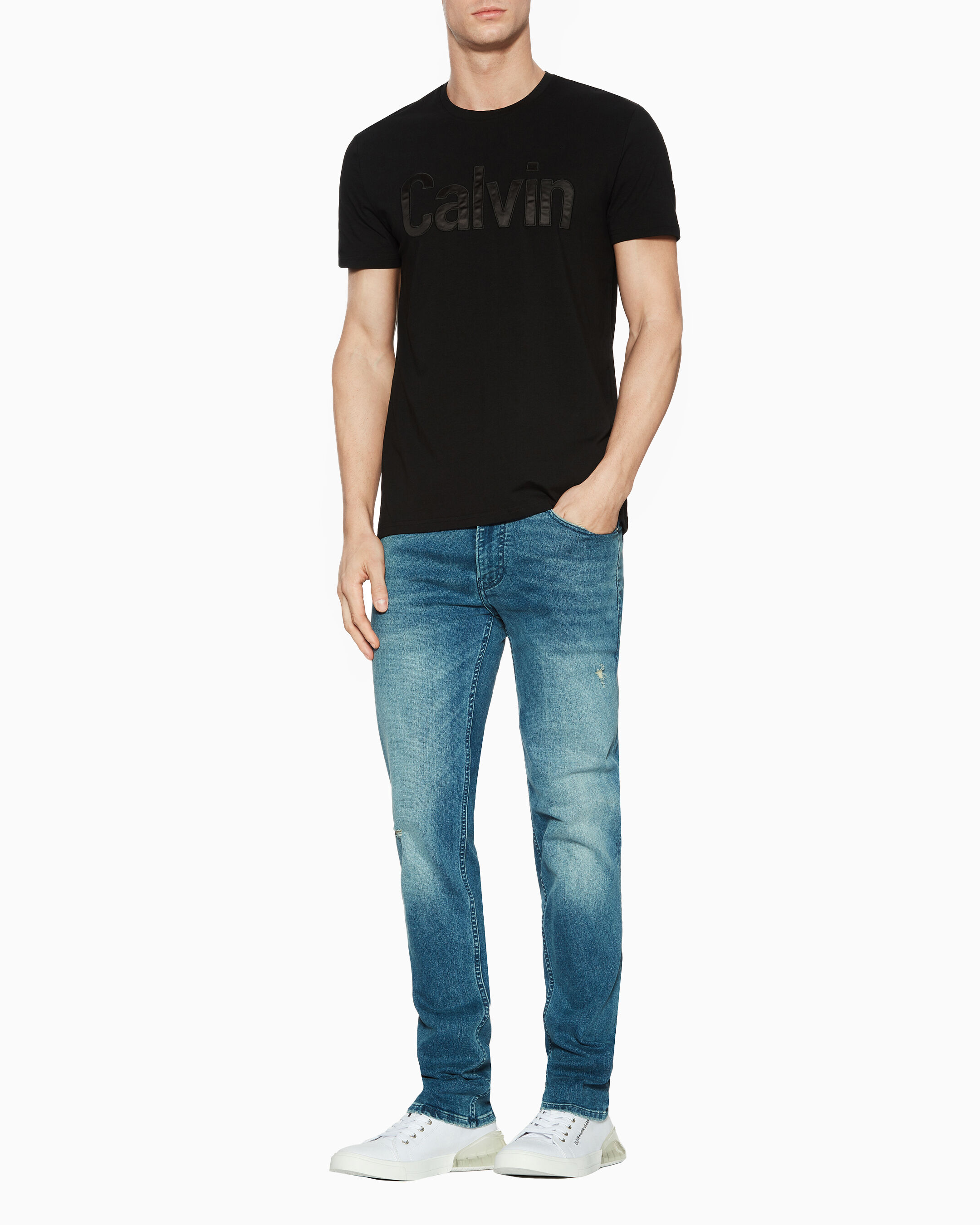 Calvin Klein Jeans Women's CK Shiny Box T Shirt Black