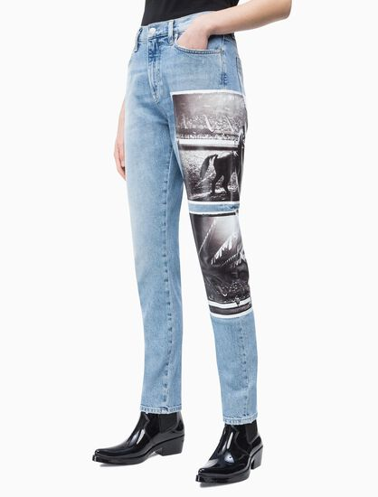 CALVIN KLEIN ANDY WARHOL WOMEN HIGH RISE STRAIGHT JEANS