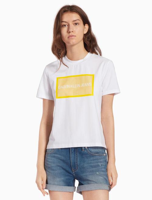 CALVIN KLEIN MESH LOGO BOX 티셔츠