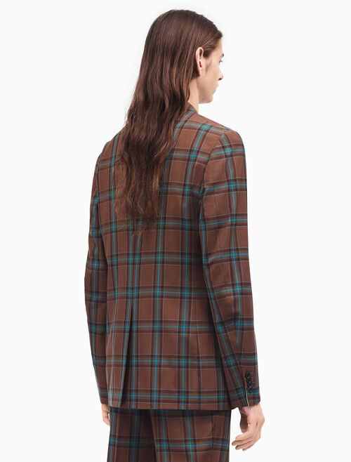 CALVIN KLEIN relaxed single-breasted jacket in tartan merino wool