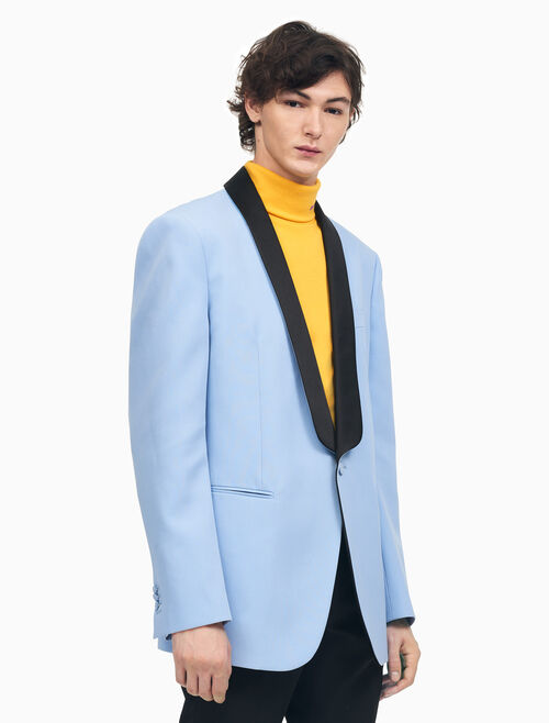 CALVIN KLEIN SHAWL COLLAR BOXY TUXEDO JACKET IN WOOL GABARDINE