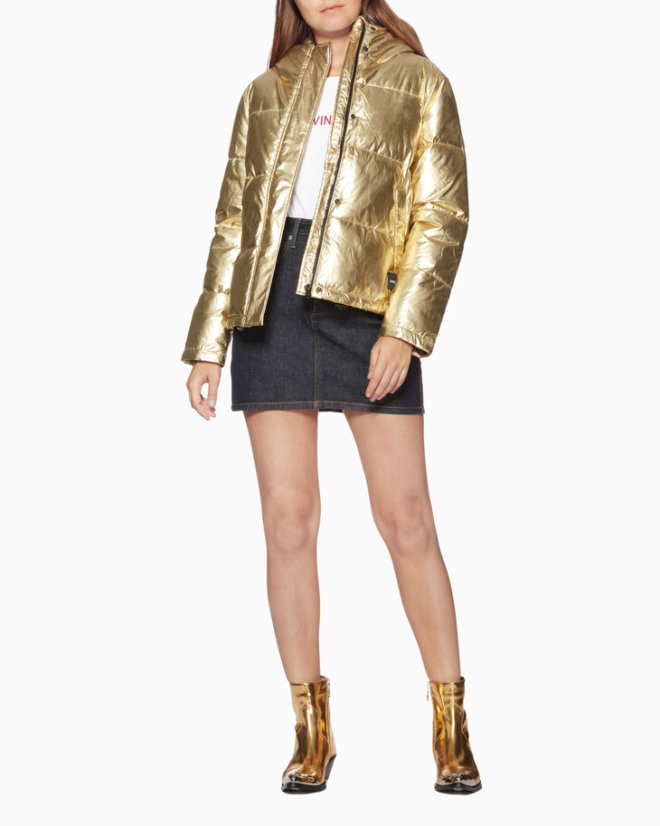 CALVIN KLEIN METALLIC GOLD PUFFER JACKET