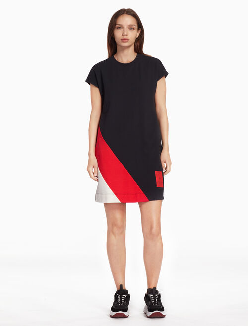 CALVIN KLEIN KNIT COLOR BLOCK DRESS