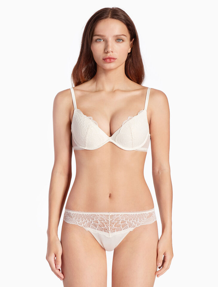 CALVIN KLEIN FAN FLORAL PUSH UP PLUNGE BRA