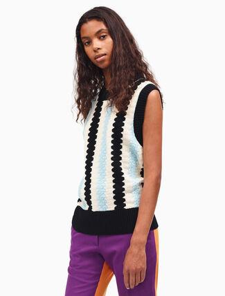 CALVIN KLEIN wave intarsia knit top