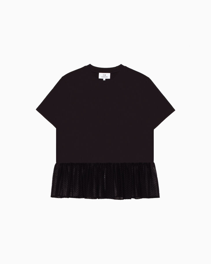 CALVIN KLEIN JERSEY TEE WITH LACE DRAPE