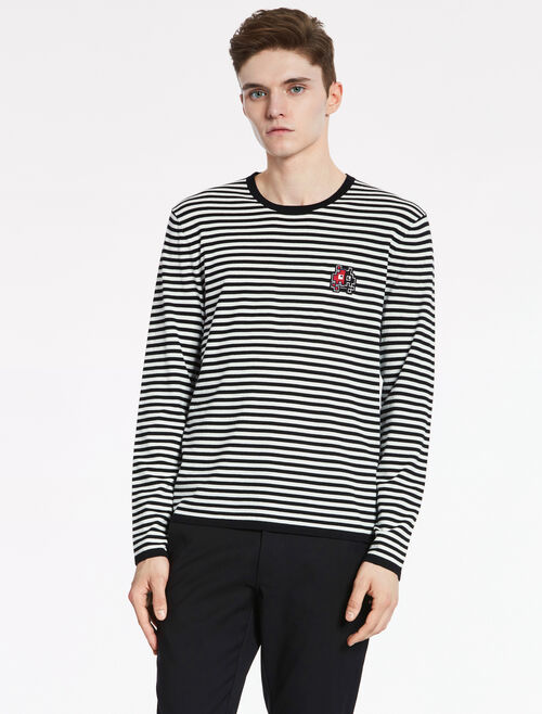 CALVIN KLEIN SOFT WOOL COTTON Short Sleeves STRIPE TOP WITH MONSTER BADGE