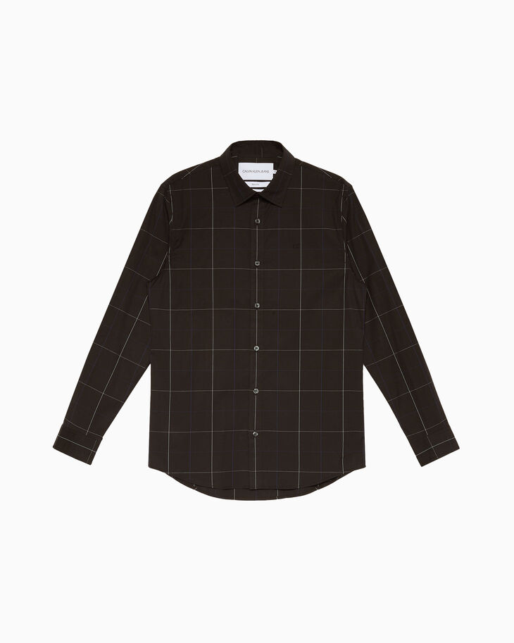 CALVIN KLEIN PLAID COTTON 슬림 셔츠