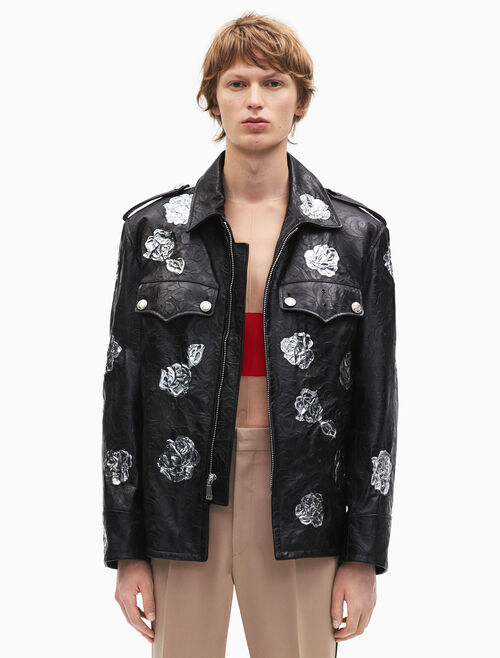 CALVIN KLEIN embossed policeman metallic floral applique jacket