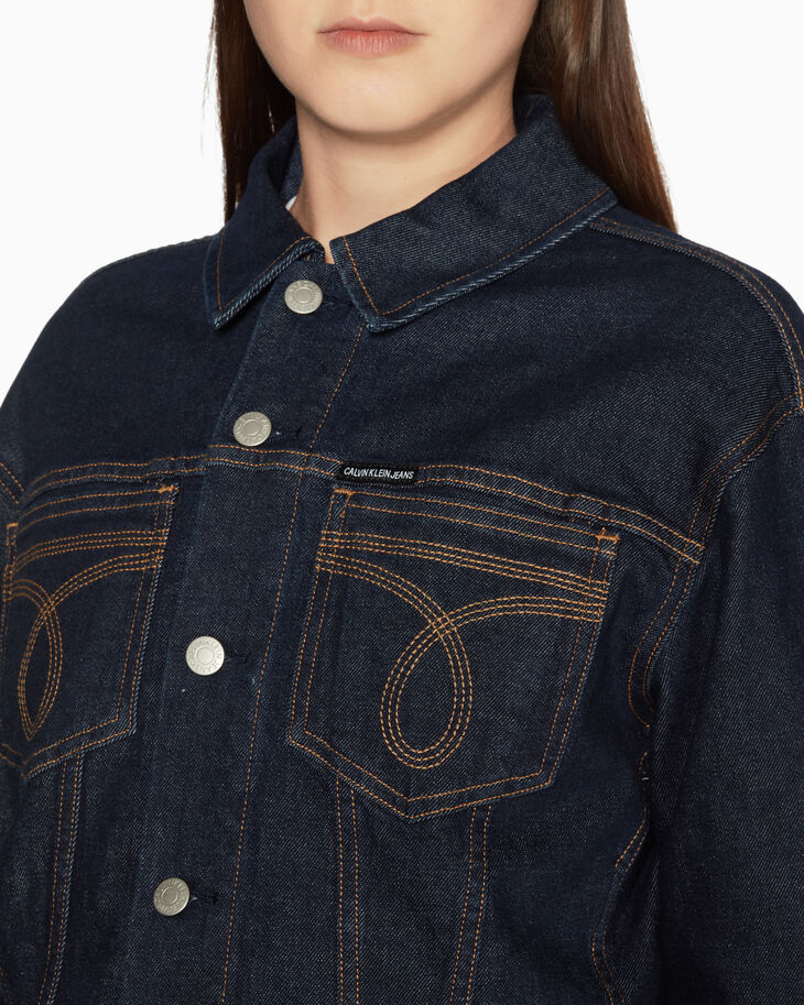 CALVIN KLEIN WESTERN STITCH CROPPED DENIM JACKET