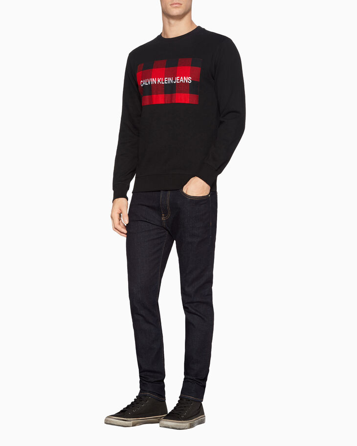 CALVIN KLEIN INSTITUTIONAL CHECK LOGO SWEATSHIRT