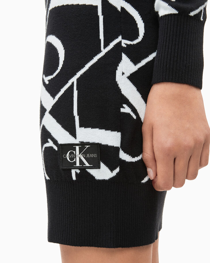 CALVIN KLEIN GIRLS' MONOGRAM KNIT DRESS