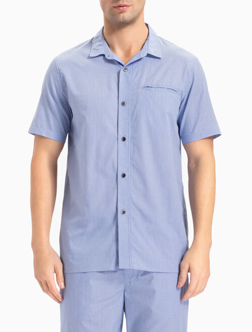 CALVIN KLEIN CHAMBRAY SLEEP BUTTON-DOWN 上衣
