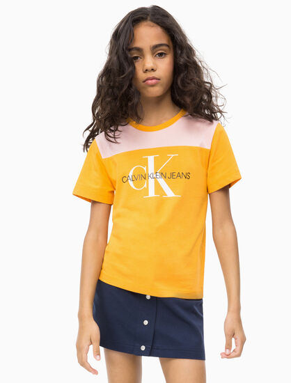 CALVIN KLEIN 여아용 컨트라스트 요크 모노그램 티셔츠