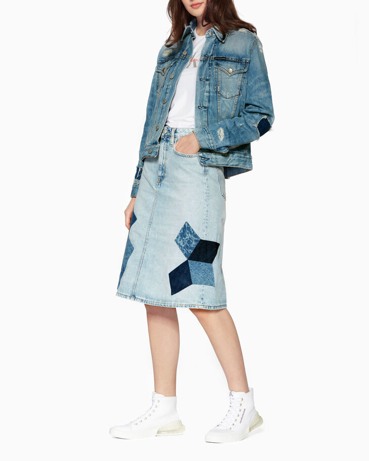 CALVIN KLEIN QUILTED HIGH RISE MINI SKIRT