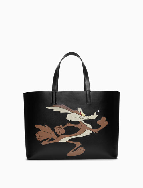 CALVIN KLEIN WILE E COYOTE EAST/WEST SOFT TOTE IN PALMELLATO LEATHER