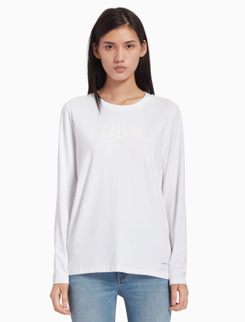 CALVIN KLEIN STRIPED LOGO LONG SLEEVE TEE