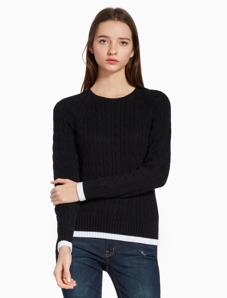 CALVIN KLEIN CONTRAST TRIM CABLE KNIT 스웨터