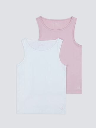 CALVIN KLEIN GIRLS MODERN COTTON 2 PACK TANK TOP