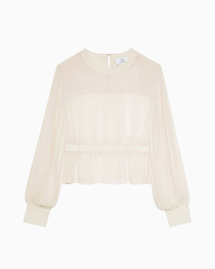 CALVIN KLEIN PLEAT SLEEVE GEORGETTE BLOUSE