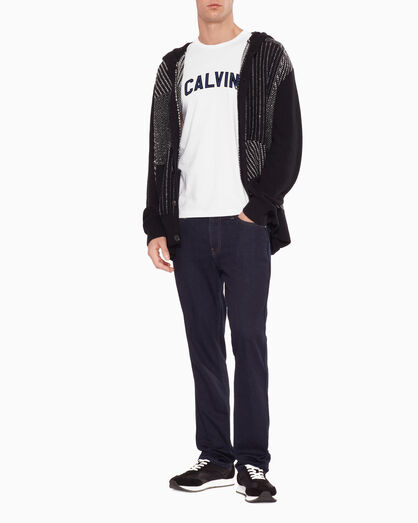 CALVIN KLEIN REVERSE STITCH HOODED CARDIGAN