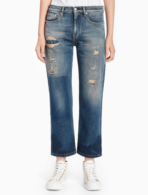 CALVIN KLEIN CKJ 031 WOMEN MID RISE STRAIGHT ROSE BOWL BLUE JEANS