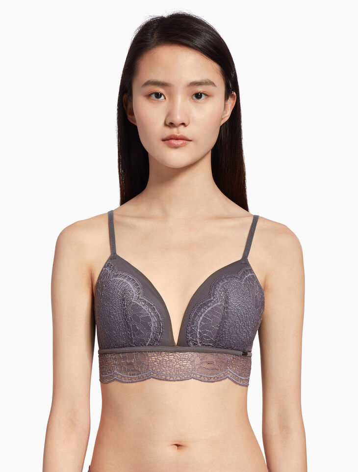 CALVIN KLEIN CK BLACK CRACKLED LACE BRALETTE