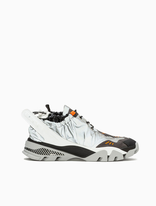 CALVIN KLEIN DRAWCORD ATHLETIC SNEAKER IN REFLECTIVE NYLON + SUEDE