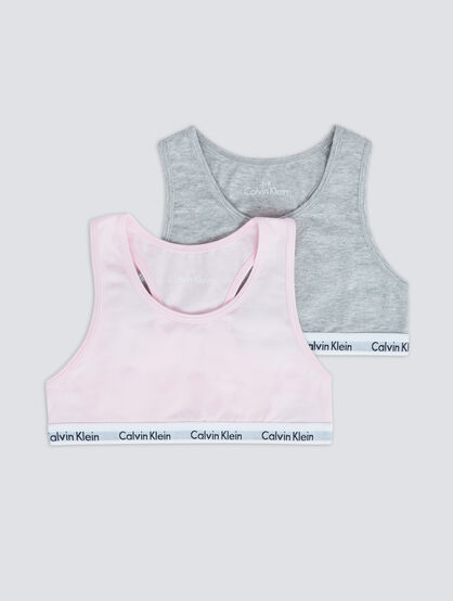 CALVIN KLEIN GIRLS 2 PACK KIDS LOGO BRALETTE