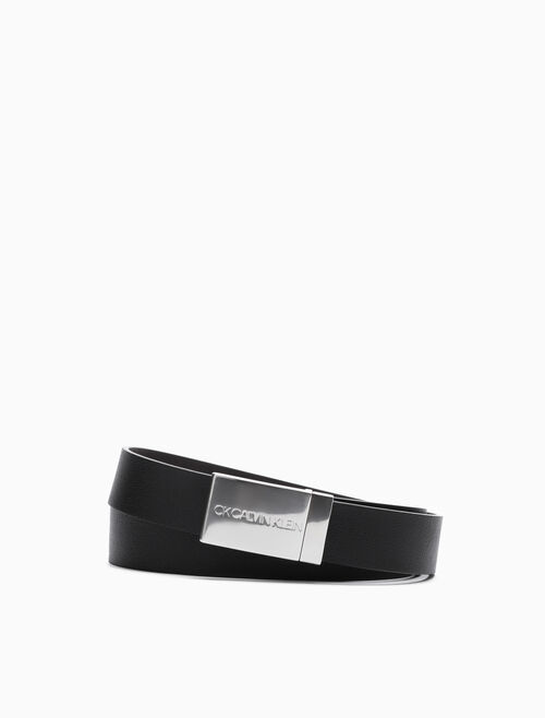 CALVIN KLEIN SHINY LOGO BUCKLE BELT