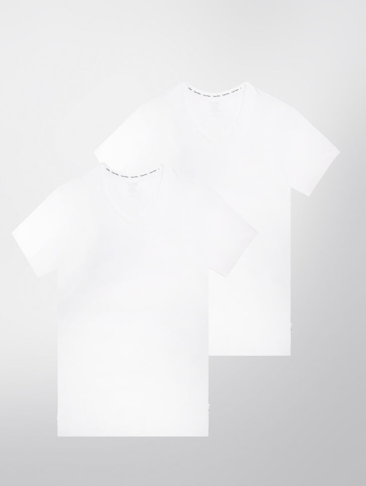 CALVIN KLEIN MODERN COTTON STRETCH 반소매 V넥 티셔츠 - 2개입