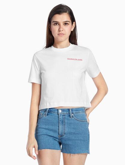 CALVIN KLEIN CROPPED RAINBOW LOGO 티셔츠