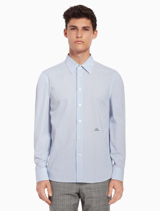 CALVIN KLEIN Pinstriped shirt with logo