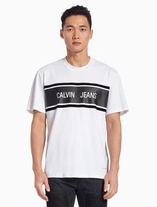 CALVIN KLEIN ロゴ ストライプ レギュラー T シャツ