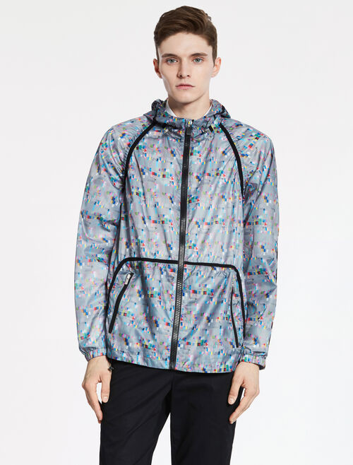 CALVIN KLEIN GLITCH PRINTED POLY HOODIE