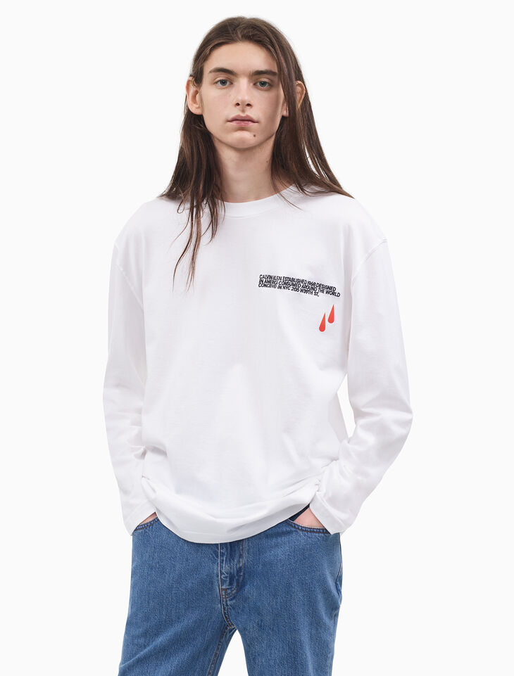 CALVIN KLEIN BLOOD DROP PRINT AND EMBROIDERY LOGO LONG SLEEVE SHIRT