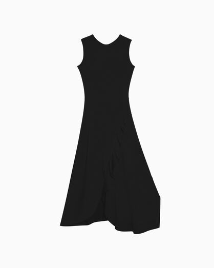 CALVIN KLEIN SLEEVELESS RUFFLE DRESS