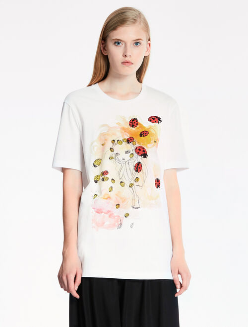 CALVIN KLEIN SUPIMA COTTON JERSEY Short Sleeves EASY TOP WITH ARTWORK PRINT