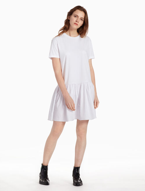 CALVIN KLEIN JERSEY TAFFETA DRESS