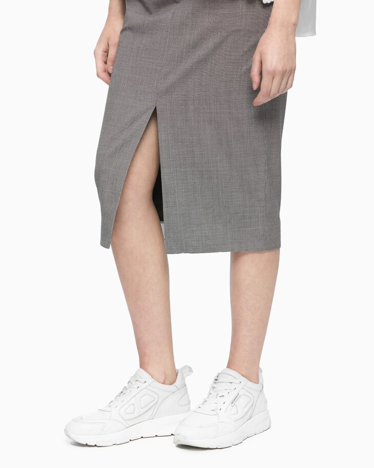 CALVIN KLEIN CHECKED FRONT SLIT A-LINE SKIRT