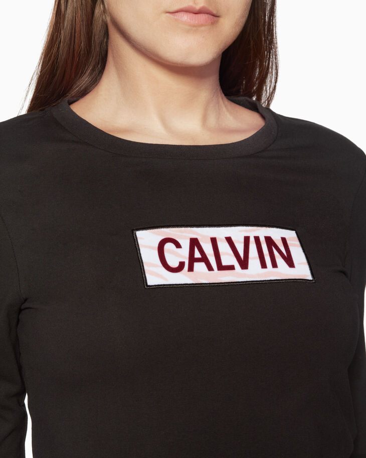 CALVIN KLEIN CALVIN 벨벳 플록 로고 티셔츠