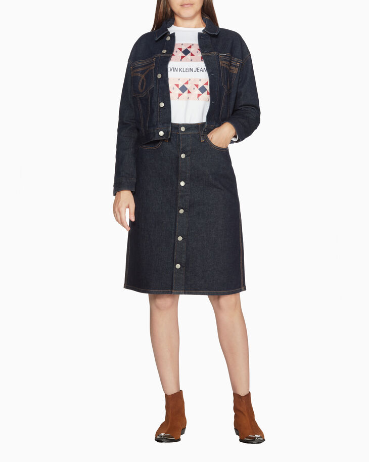 CALVIN KLEIN WESTERN STITCH HIGH RISE BUTTON DOWN SKIRT