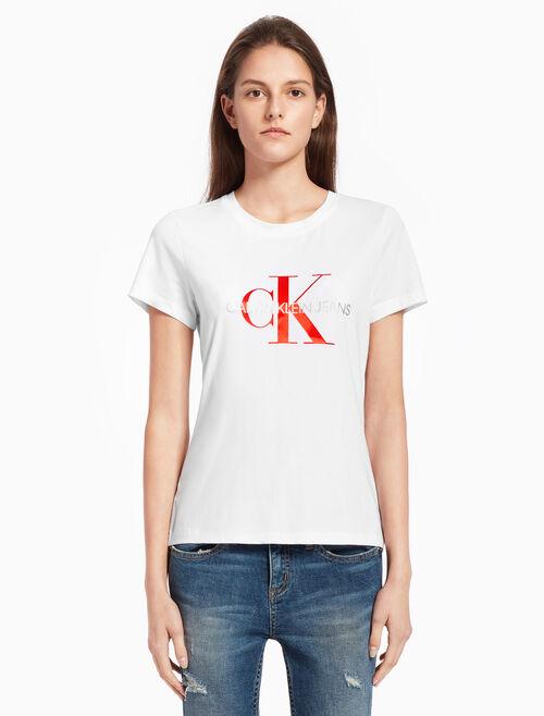 CALVIN KLEIN SATIN MONOGRAM LOGO 티셔츠