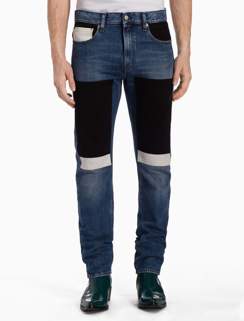 CALVIN KLEIN CKJ 026 MEN SLIM COLOR BLOCK PATCH JEANS