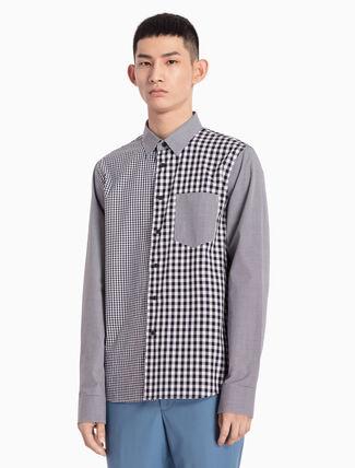 CALVIN KLEIN ウーブンパッチワークシャツ