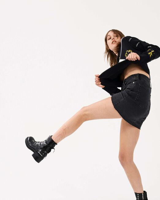 CALVIN KLEIN 여성 빅 로고 크롭 보이프렌드핏 스웨트 셔츠