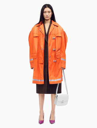 CALVIN KLEIN DISTRESSED COUTURE-SLEEVE FIREMAN COAT