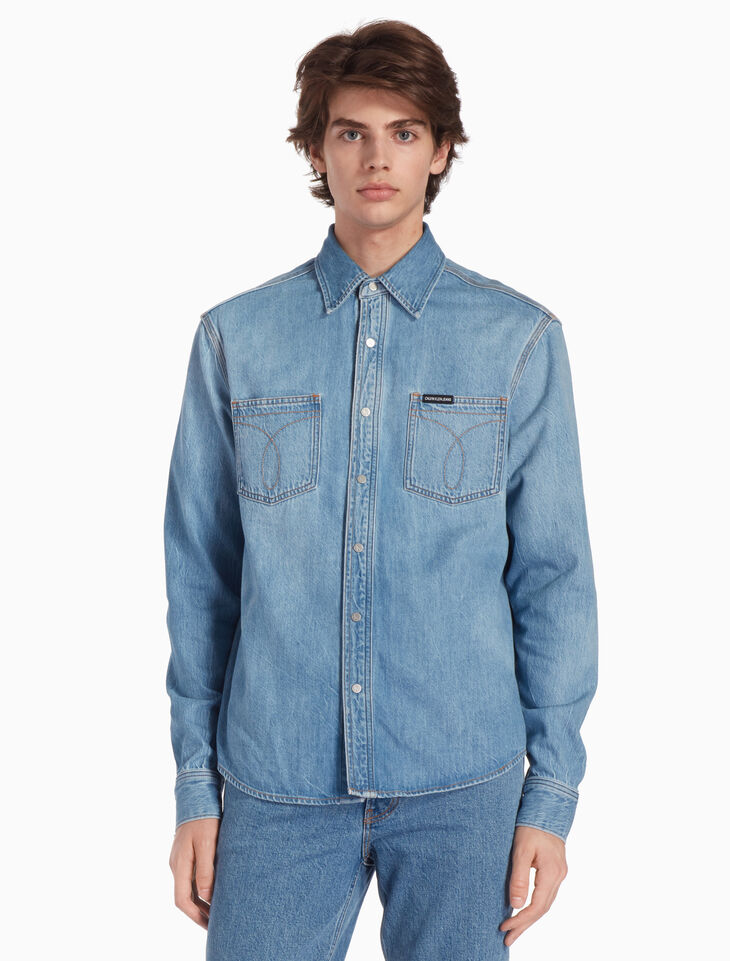 CALVIN KLEIN POCKET STITCH UTILITY DENIM SHIRT